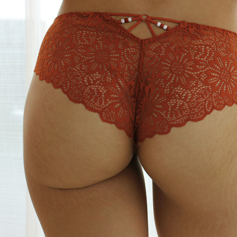 Shorty en dentelle - marron;