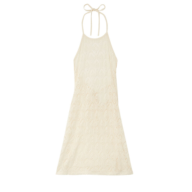 robe dos nu à nouer en dentelle - écru;
