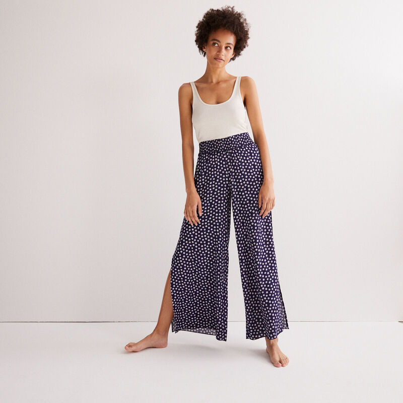 pantalon à motifs paquerettes - bleu;