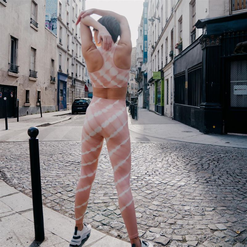 legging sport effet tie and dye - rose;