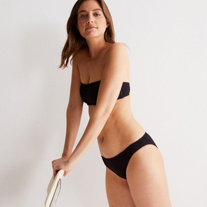 haut de maillot de bain bandeau tissus gaufré - noir;