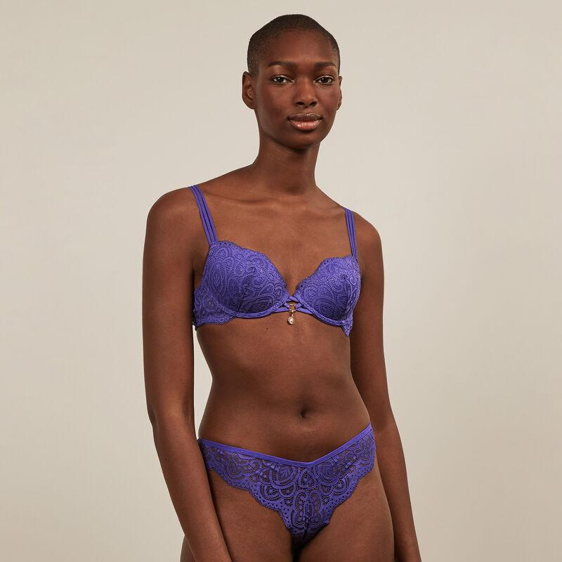 tanga en dentelle fleurie - violet ;