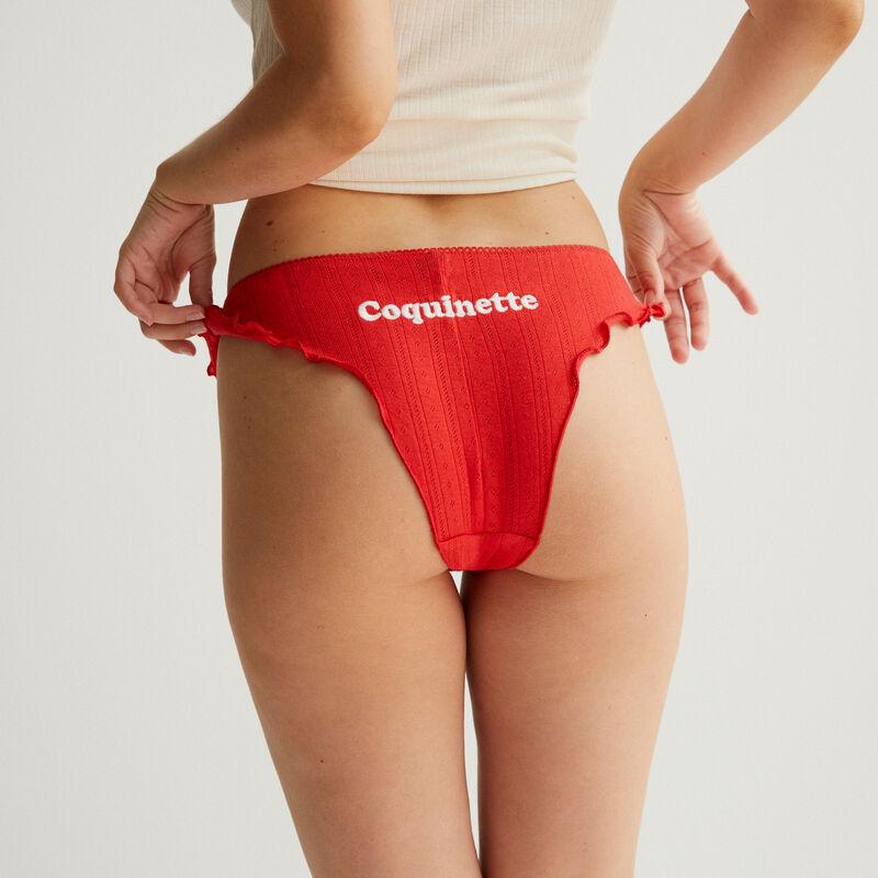shorty en coton à message - rouge;