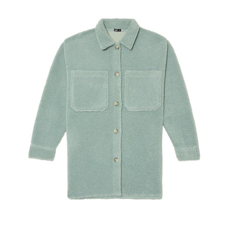 veste oversize en bouclettes - vert d'eau;