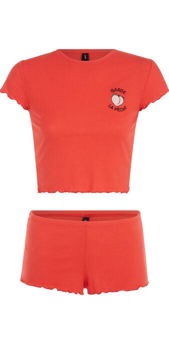 Ensemble de pyjama rouge corail saladiz red.