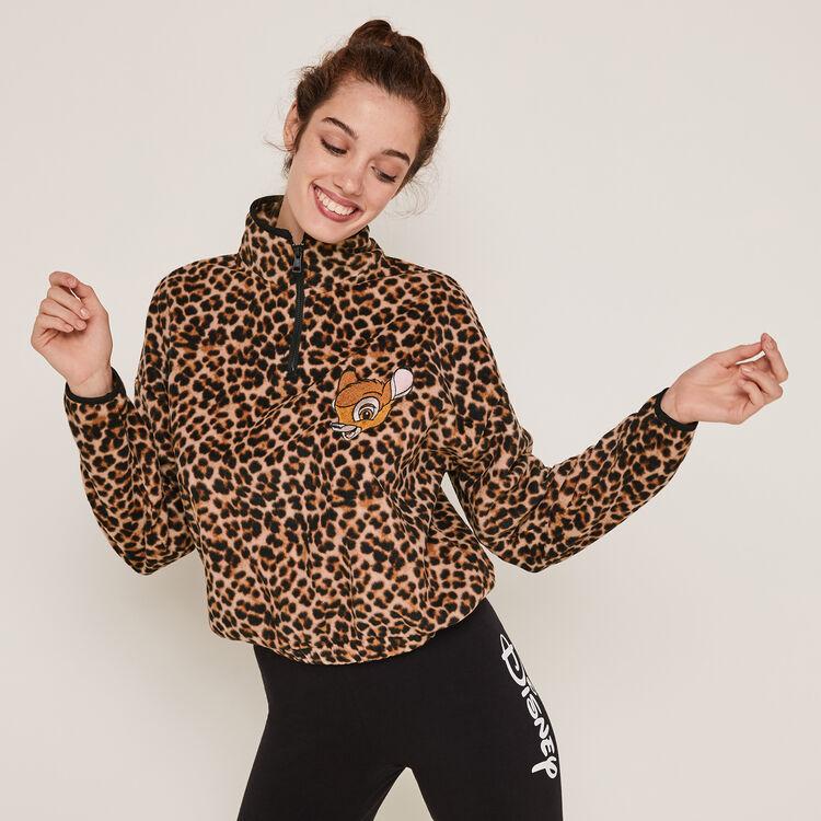 Sweat polaire à zip print léopard toobambiz;