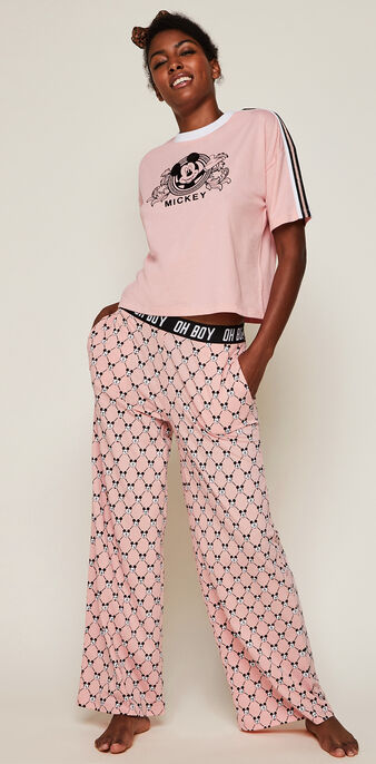 Pantalon large logo mickey versaqueeniz rose.