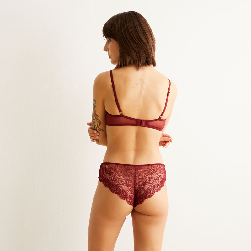 shorty en dentelle everydayiz - bordeaux;