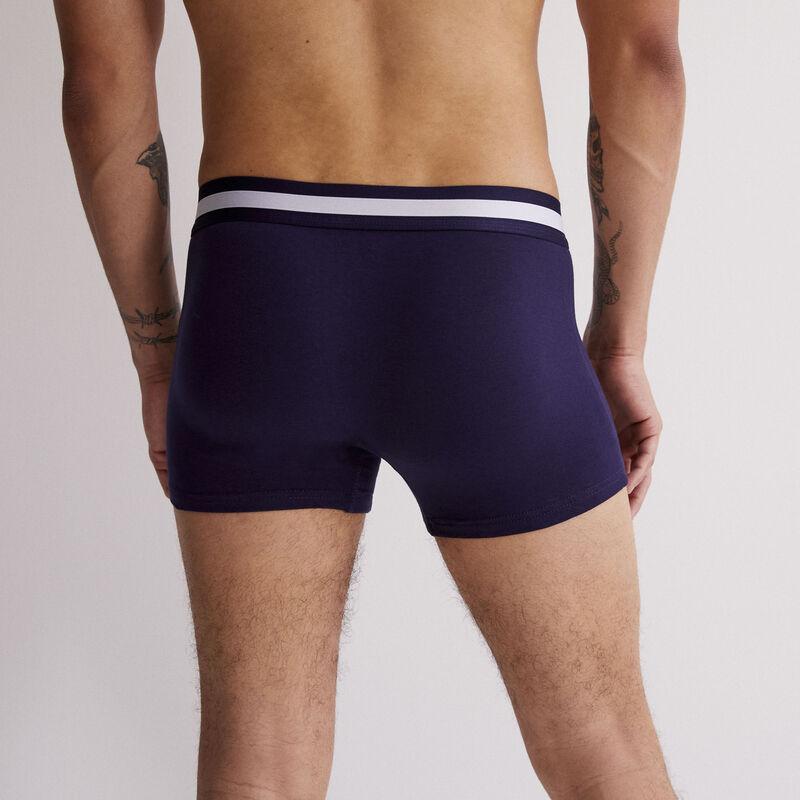 Boxer en coton uni - bleu marine;