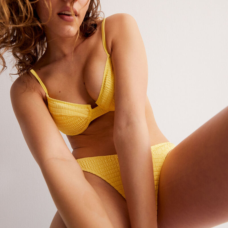 haut de maillot corbeille effet gaufré - jaune;