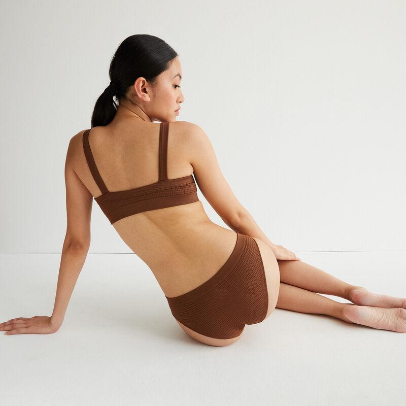 culotte effet gauffré détail bijou - marron;