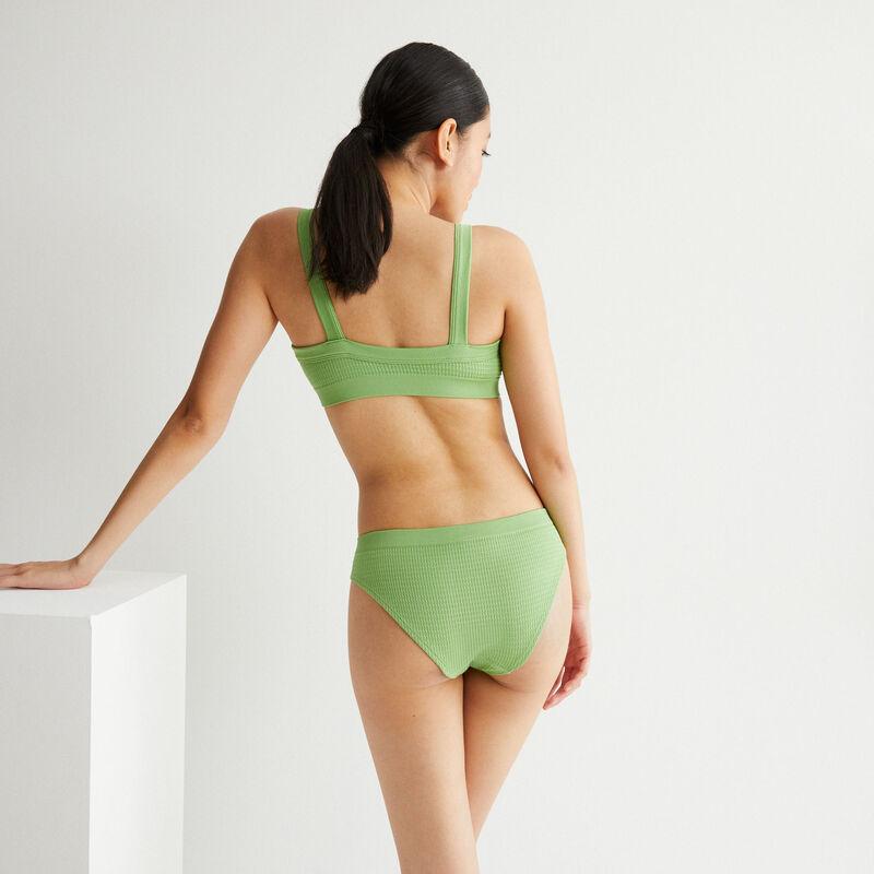 culotte effet gauffré détail bijou - vert;
