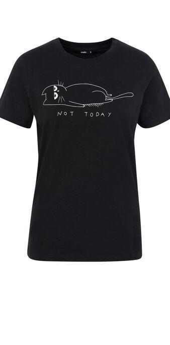 Top à manches courtes imprimé chat sundayiz noir.