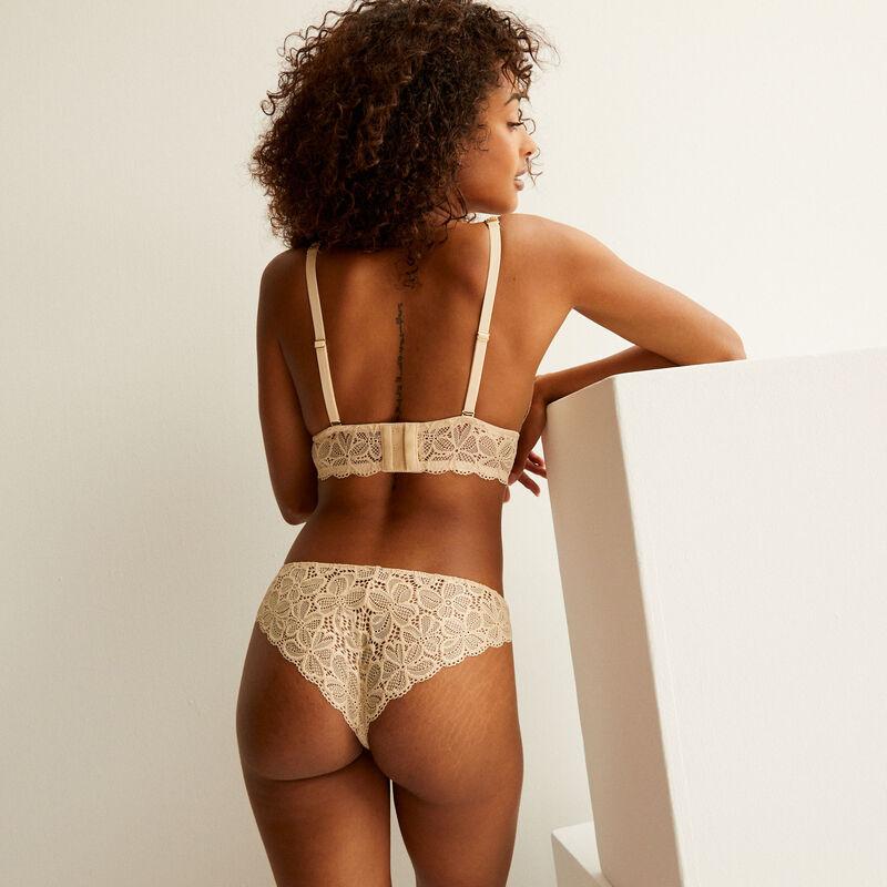 soutien-gorge triangle à détail corsé - crème irisé;