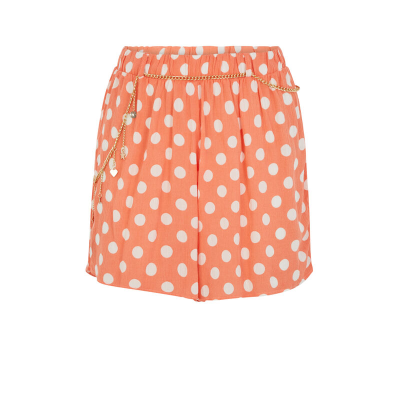 Short imprimé pois - orange;
