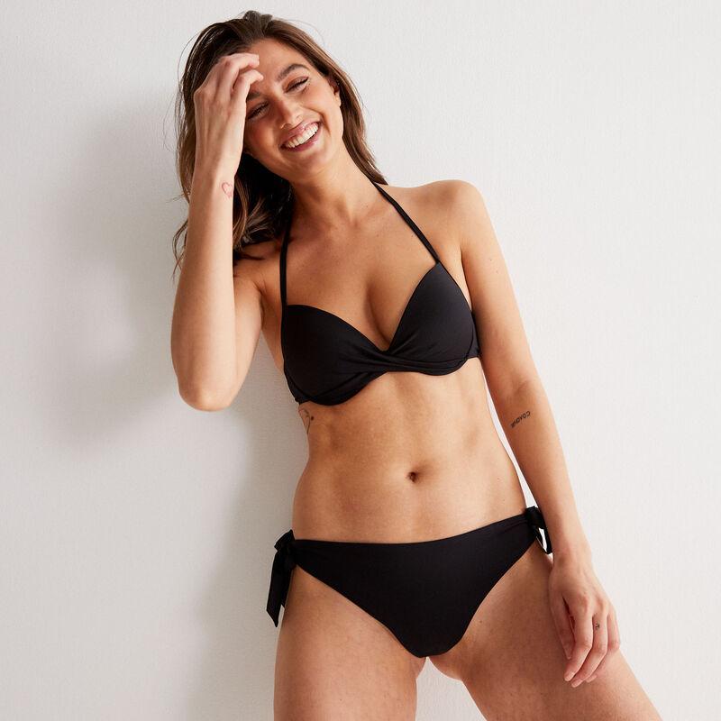 haut de maillot de bain push-up dos nu décolleté twisté - noir;