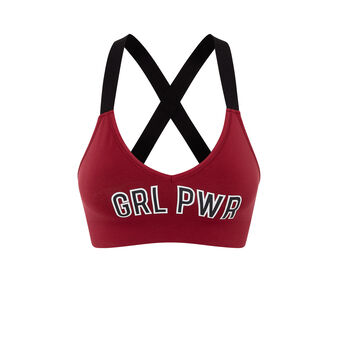 Girlpowiz burgundy triangle bra red.