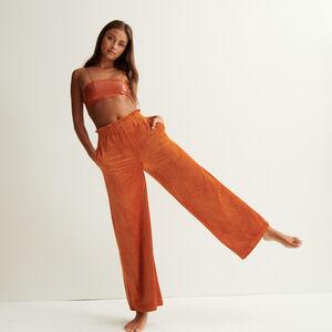 pantalon ample en velours - marron