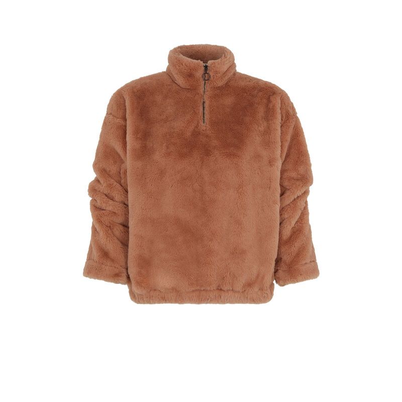 sweat en polaire - marron;