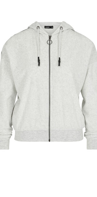 Sweat veste en velours helloiz gris clair.
