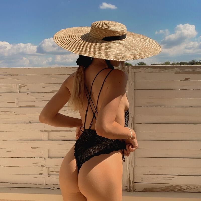 body string tout dentelle joli dos - noir;