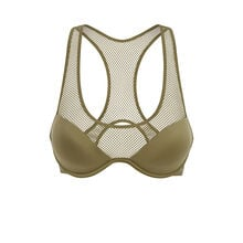 Uniformiz khaki green padded demi-cup bra green.