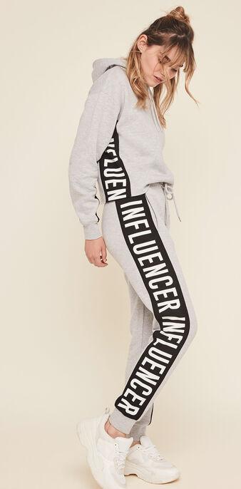 Pantalon bandes sur le côté hellovibiz gris.