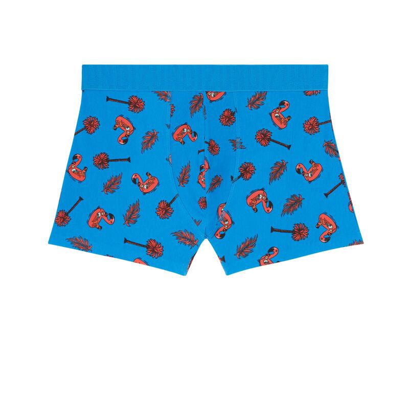 boxer en coton à motif flamant rose - bleu;