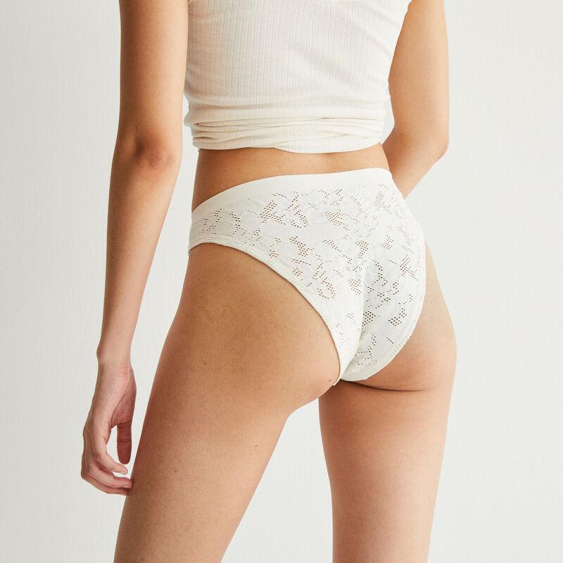 culotte taille haute effet jacquard - écru;