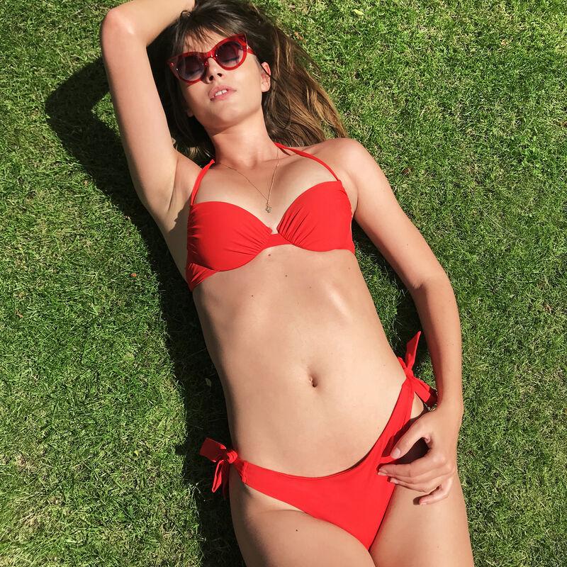 Bas de maillot de bain tanga à nouer - rouge;