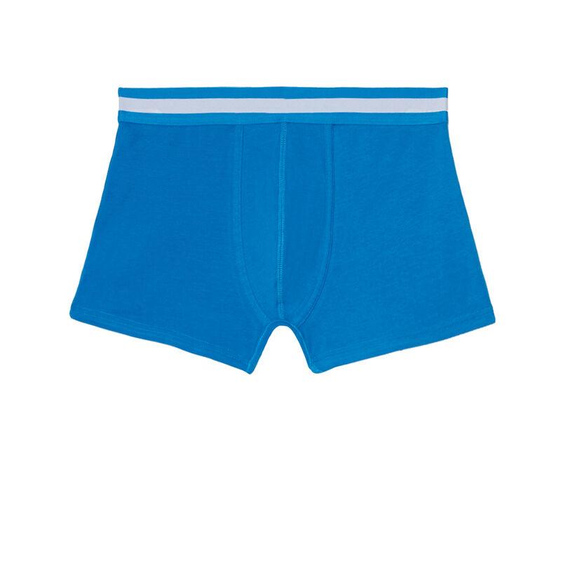 boxer uni en coton - bleu;