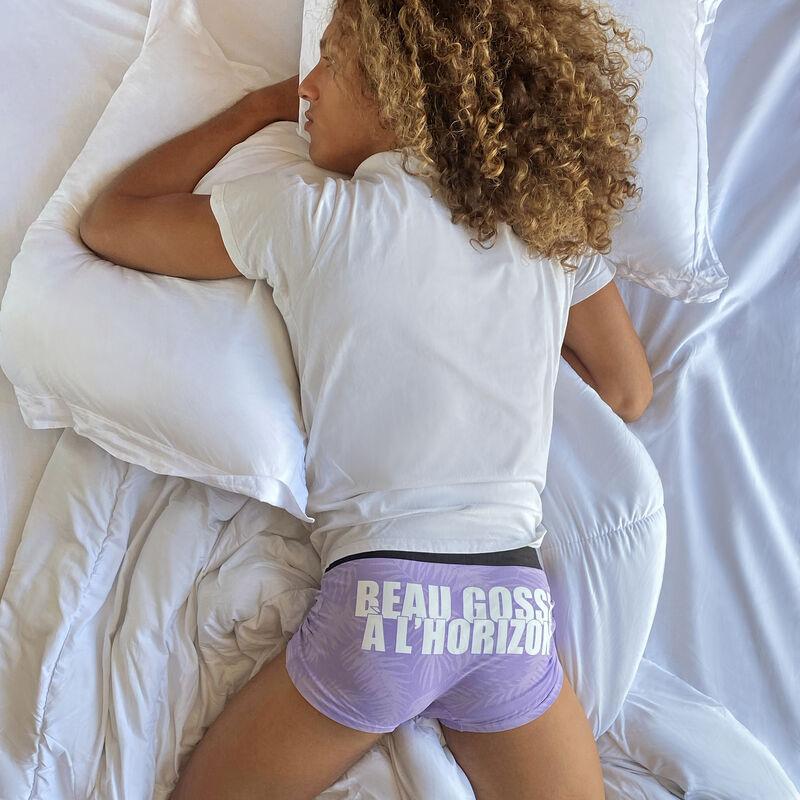 Boxer en coton à message - violet;