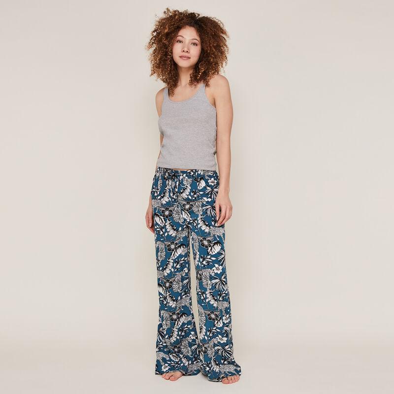 Pantalon imprimé fleuri - bleu canard;