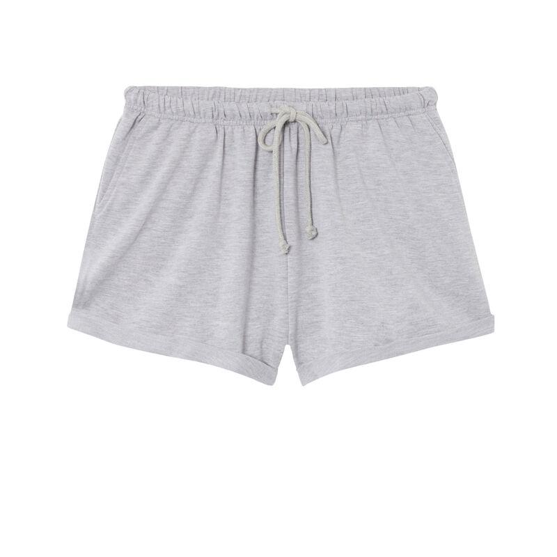 short uni à détail cordon - gris;