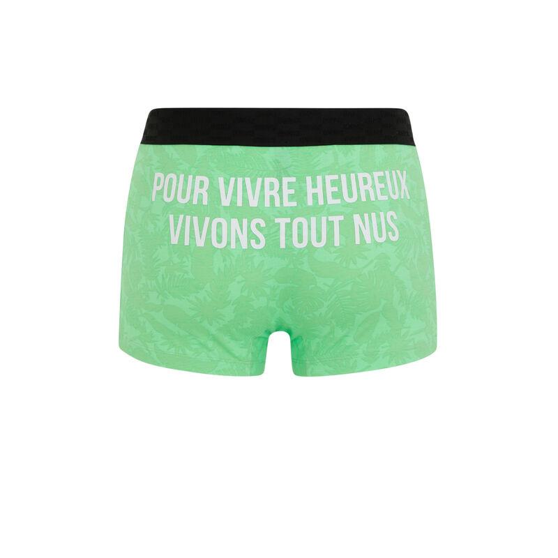 Boxer en coton à message - vert pomme;