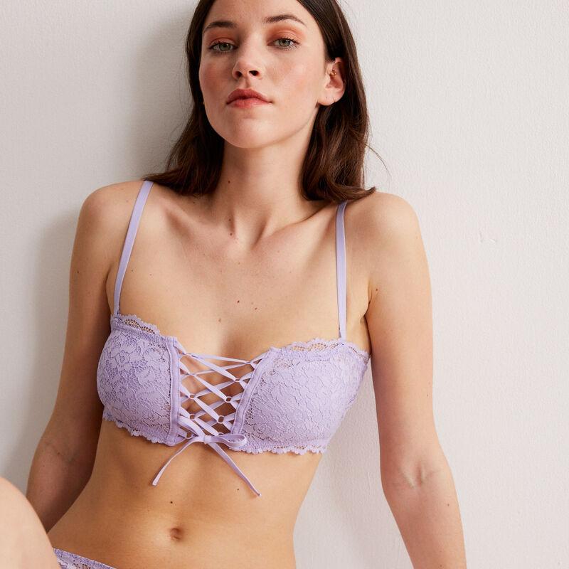 soutien-gorge bandeau sans armatures effet corset - lilas;