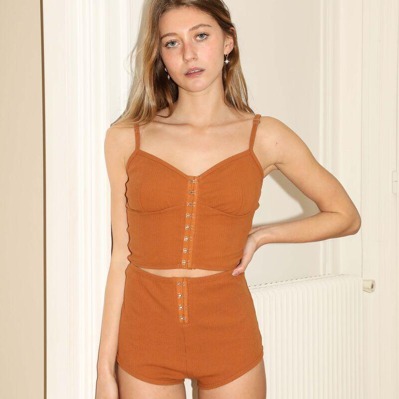 top à bretelles fines effet corset - marron;