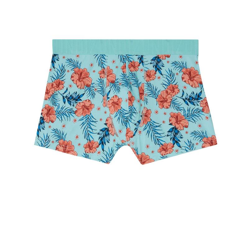 boxer à imprimé tropical - turquoise ;