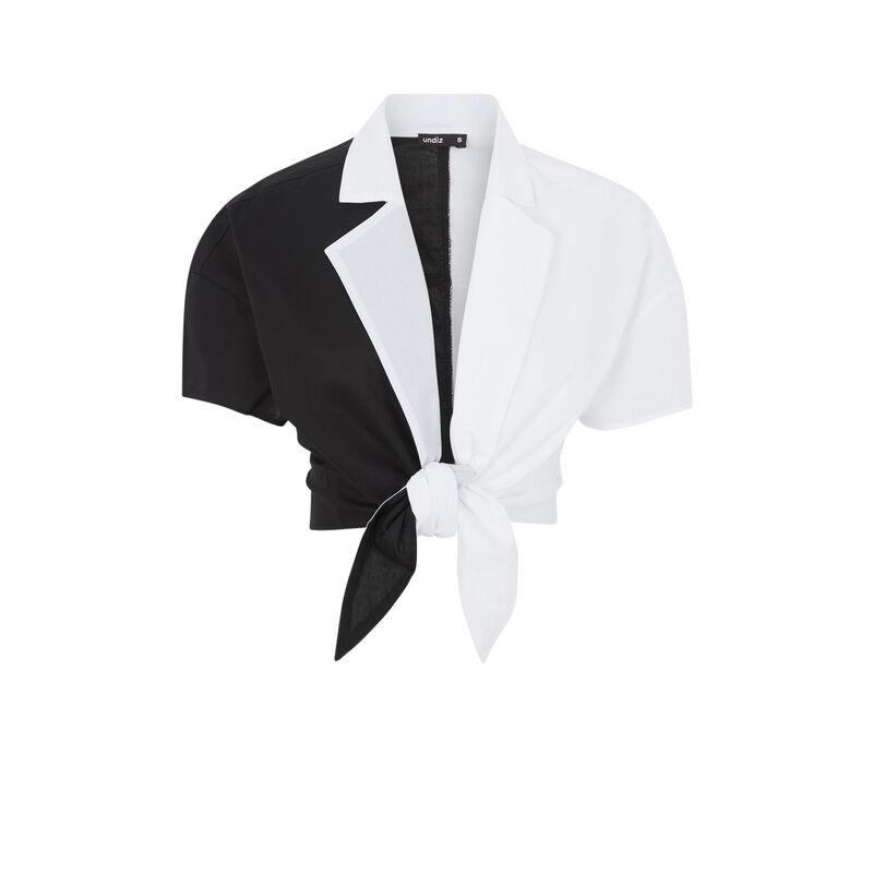 Top chemise bicolore - noir;