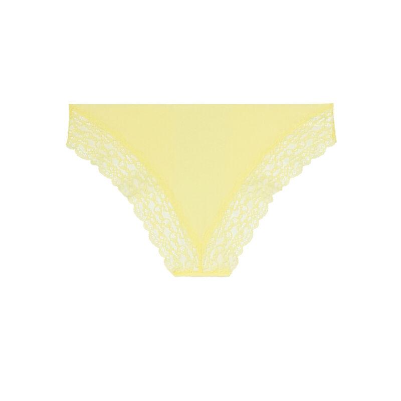 culotte en micro et dentelle - jaune ;