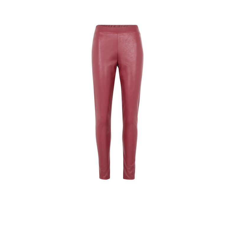 legging similicuir - rouge;