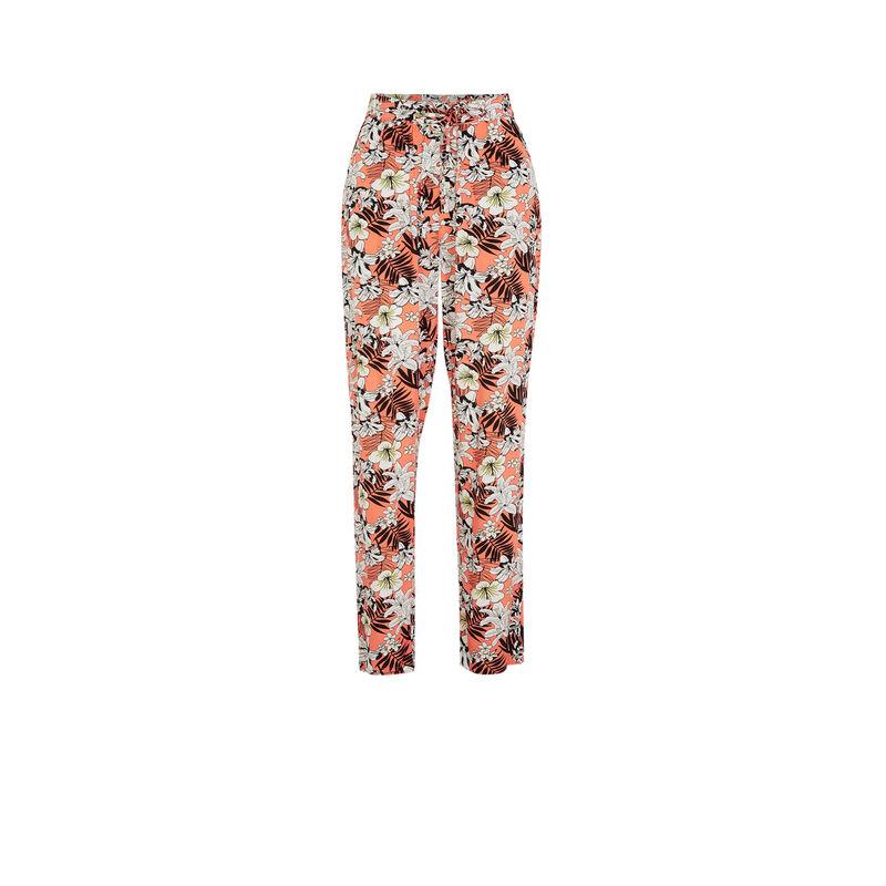 Pantalon imprimé fleuri - corail;