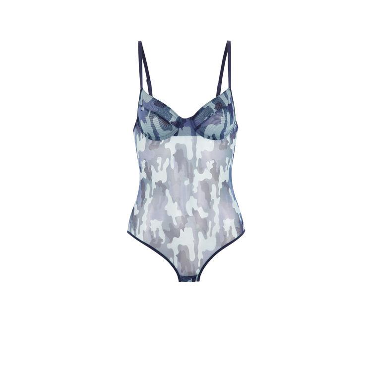 Body tulle imprime camouflage camistreetiz bleu.