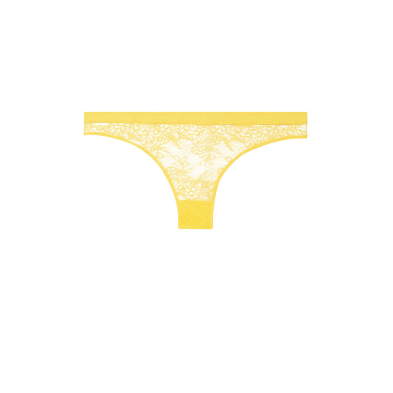tanga en dentelle - jaune;