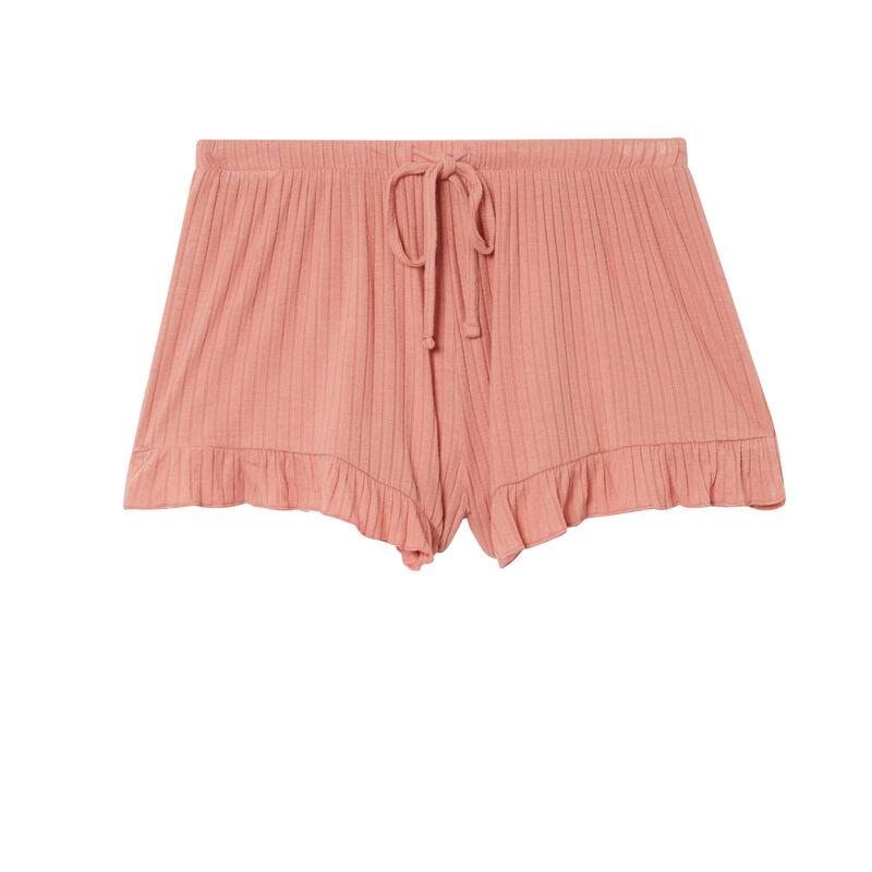 short à volants et nœuds échancré - rose nude;