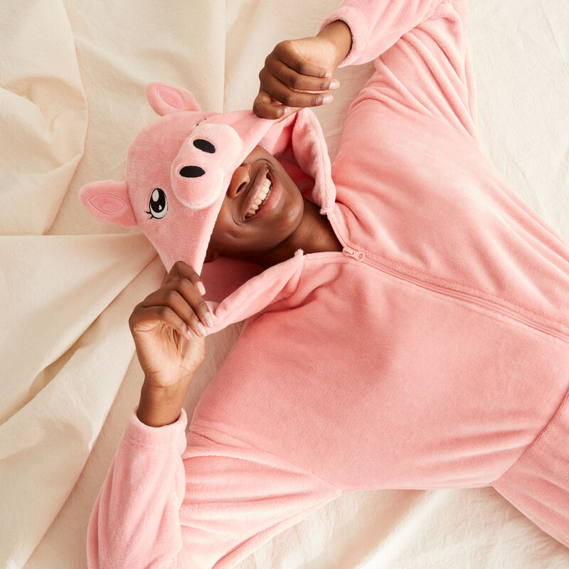 combinaison polaire cochon - rose ;