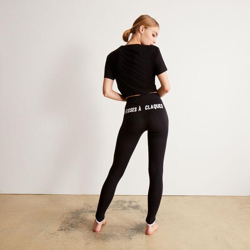 legging à imprimé fesses à claque - noir;