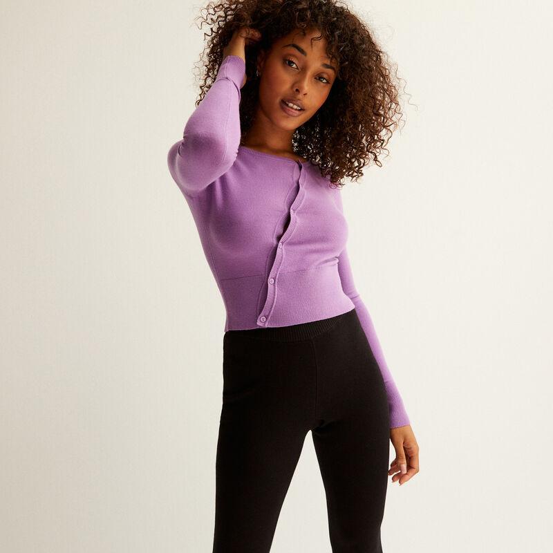 top en maille boutonnière asymétrique - violet;