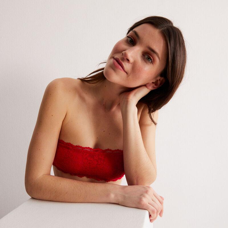 soutien-gorge bandeau sans armatures effet corset - rouge;