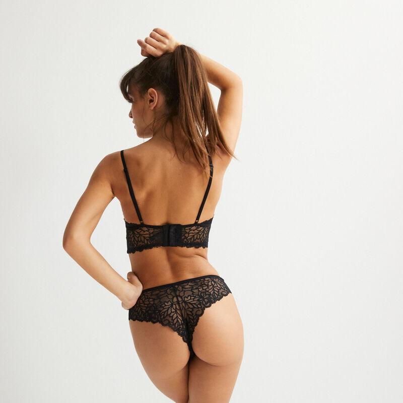 soutien-gorge triangle push-up à lien en dentelle - noir;